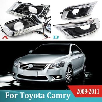 2pcs For Toyota Camry  2009 - 2011 LED Daytime Driving Running Light DRL Car Fog Lamp 6000K White Light Turn Yellow Light