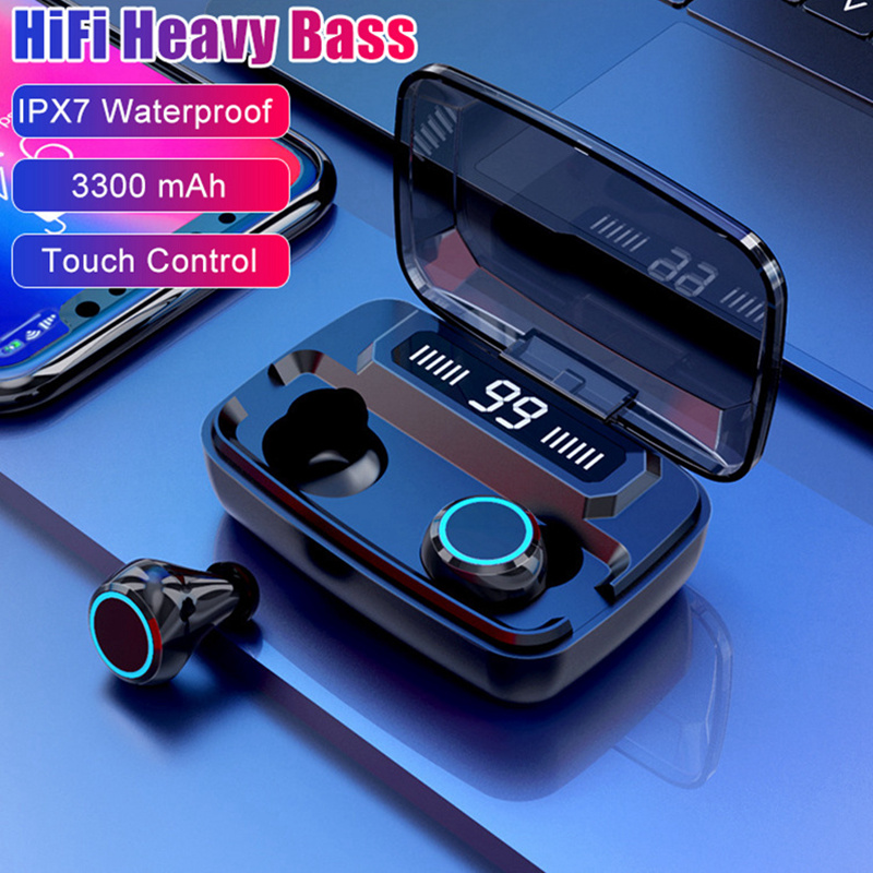 True Wireless Headphones Touch Bluetooth 5.0 Earphone HiFi Heavy Bass Earphones IPX7 Waterproof 3300mAh Charging Box With Mic