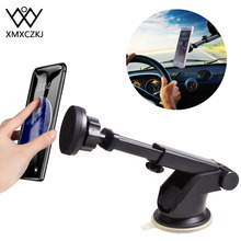 XMXCZKJ Magnetic Car Phone Holder For iPhone Xs Max X Telescopic Suction Cup Dashboard Mount Cell Mobile Stand