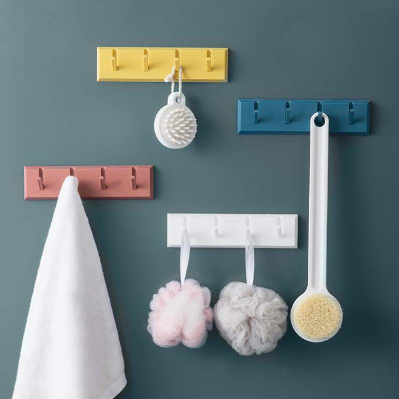 Hooks Wall Mounted Clothes Hanging Rack Key Plastic Coat Hook Rack For Entryway Bedroom Bathroom Home Decor