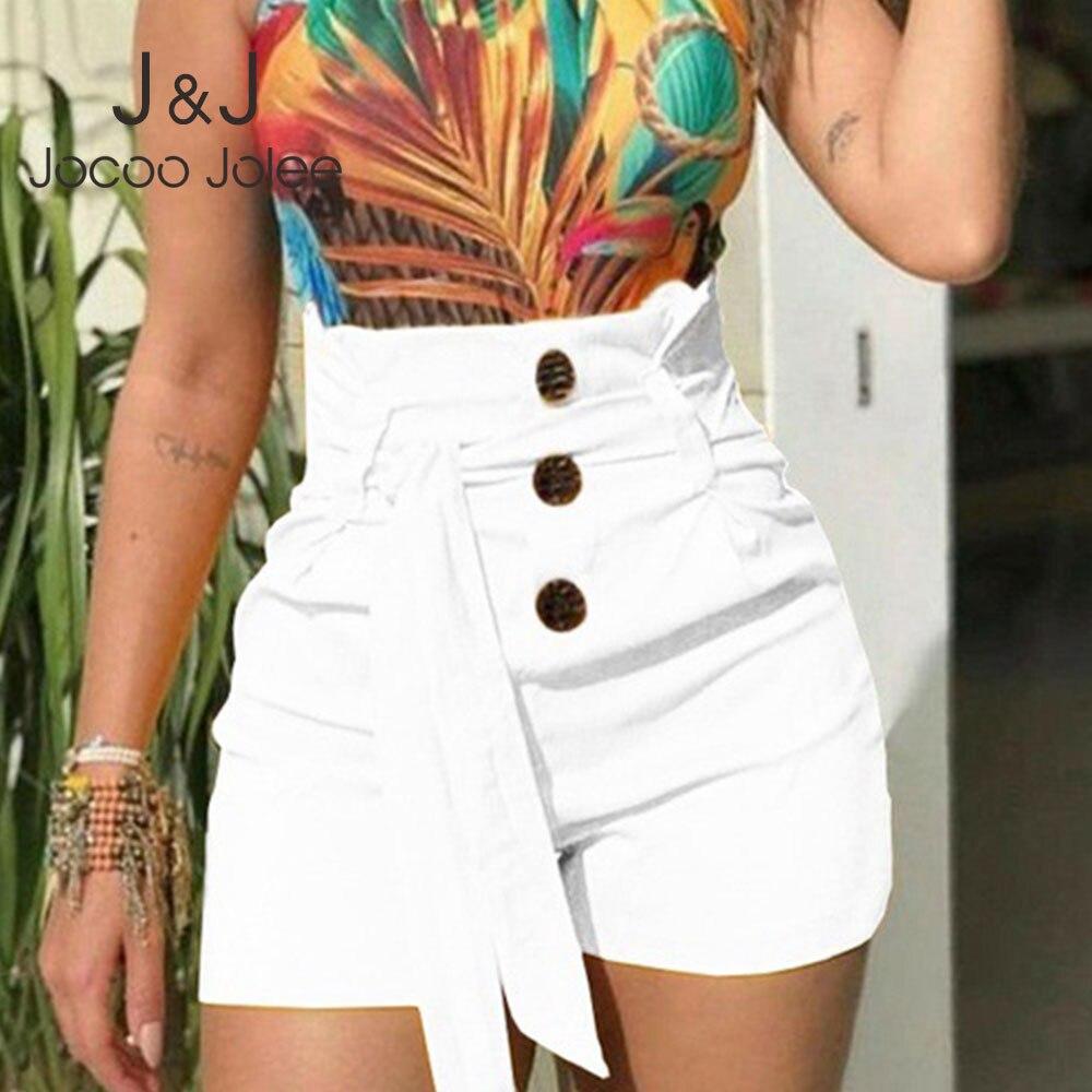 Jocoo Jolee Casual Solid High Waist Sashes Shorts Women Summer 2020 New Slim Chiffon Short Pants Female Beach Holiday Shorts