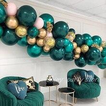 25 pçs 5/10/12 polegada verde escuro balão metálico látex balões festa de aniversário decorações adulto hélio baloons suprimentos de casamento
