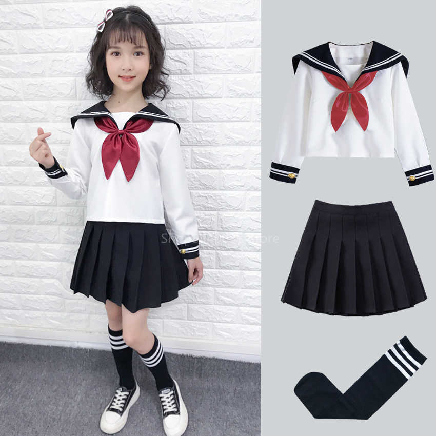 Kid Jk Sailor Jurk 4 Stuks Meisje Japanse Koreaanse Orthodoxe School Uniform Plooirok Navy Lange Korte Mouwen Kawaii Pak anime Cos
