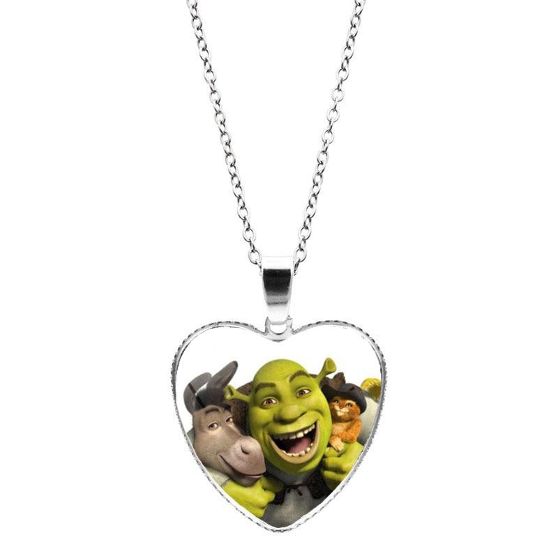 New Shrek Heart Pendant Necklace Cartoon Photo Glass Cabochon Crystal Heart Necklace Jewelry for Women Men