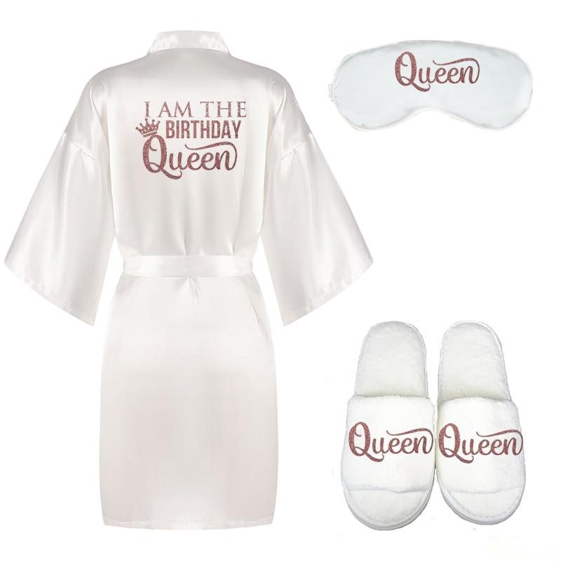 Блестящие цвета розового золота Я ко дню рождения Queen халат с украшением в виде короны на день рождения для девочек атласное кимоно вечерние...