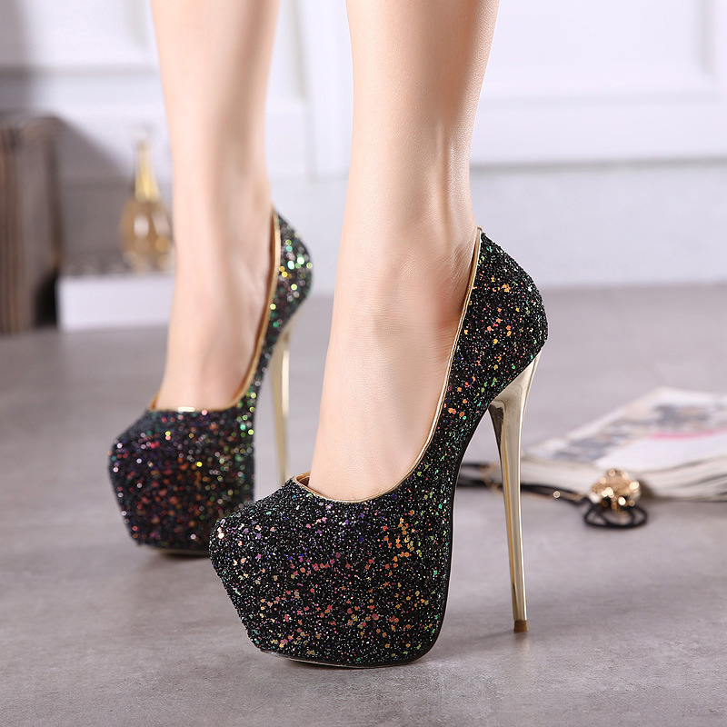 34-45 Size Sexy Platform Pumps Women Ultra Stiletto High Heels 16CM Shoes Round Toe Glitters Sequins Party Wedding Shoes MD-93