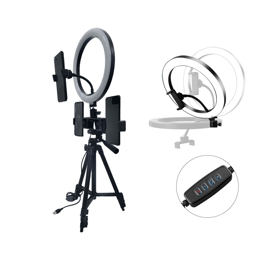 Cell Phone Tripod Selfie Stick Tripode with 26CM LED Selfie Ring Light Panorama Pan Head Travel Portable Tripod Stand for Mobile