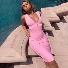Beaukey夏2020女性カットアウトセクシーな包帯ドレスボディコンディープvネックピンクドレス包帯イブニングパーティーvestido膝長さ