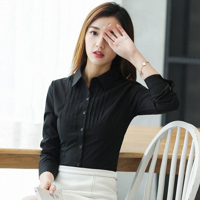 Autumn Office Lady Chiffon Women Blouses Long Sleeve Turn-Down Collar White Work Shirts Fashion Korean Women Slim Elegant Tops