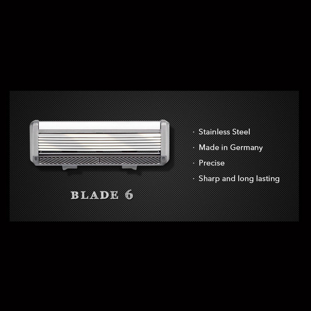 Qshave Black Spider New 6 Blade System Man Manual Shaving Razor Germany X6 Blade with Trimmer Blade, 4 & 8 &16 Cartridges Choice 3
