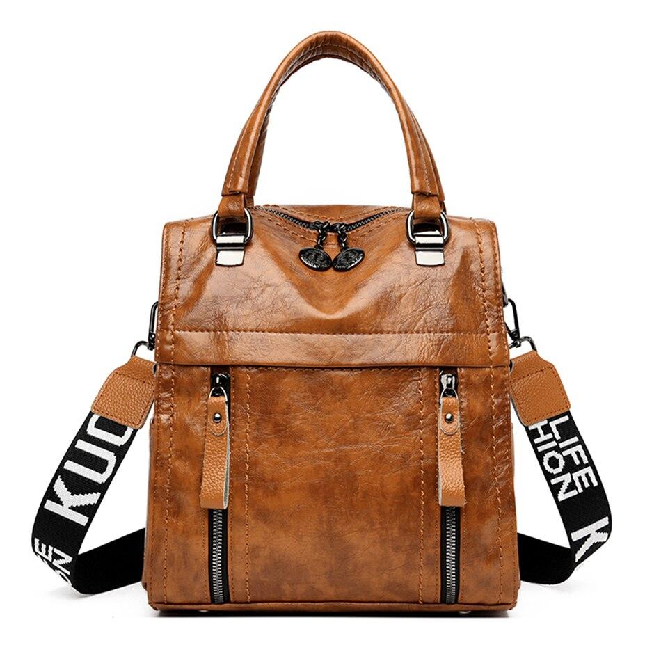Women Leather Backpacks 2019 Female Vintage Backpack Travel Back Pack Bagpack Shoulder Bag Mochilas School Bag For Teenage Girls