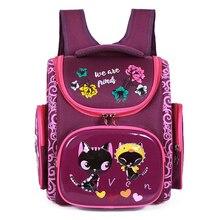 Orthopedic School Backpacks For Girls Cartoon Cat Primary School Bags 5-7Y Child