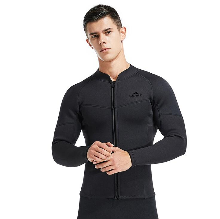 Sbart 3MM Long Sleeve Men Diving Jacket Black Neoprene Thicken Thermal Triathlon Wetsuit Tops For Swimming Sailing Spearfishing