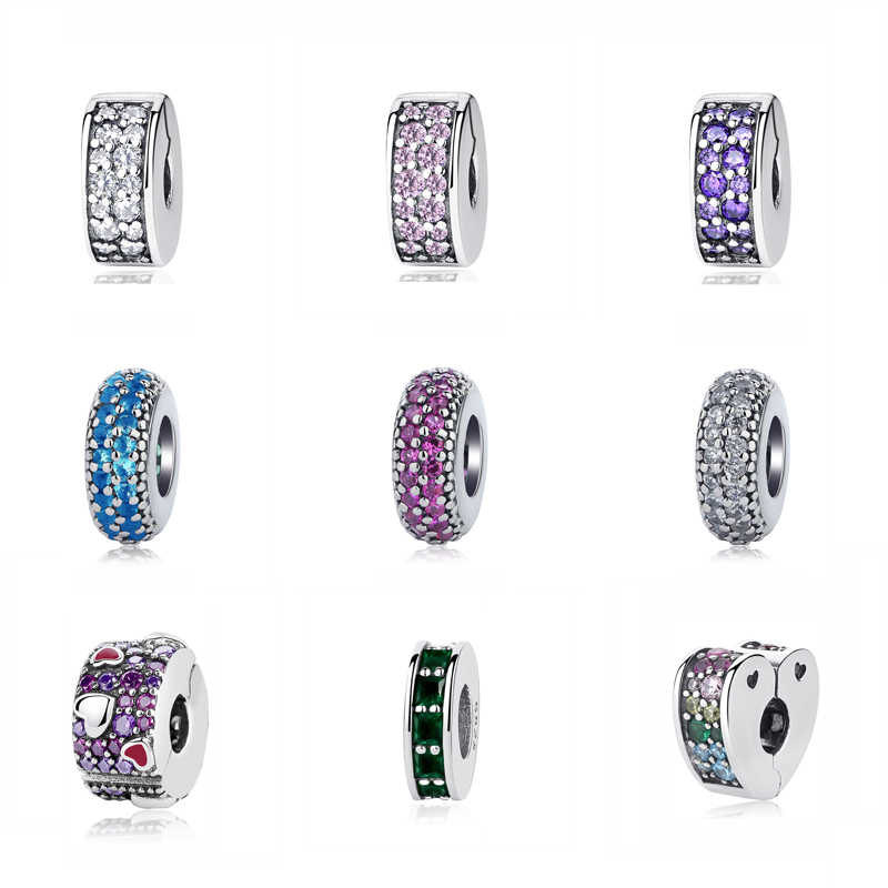 Autêntico 925 prata esterlina grânulo charme brilhando elegância clipe rolha encantos cristal caber pandora pulseiras feminino jóias diy