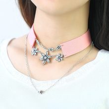 Pink Black Three Flower Pendant Choker Necklace Wide Band Crystal Cubic Zirconia Retro Punk Women Sweater Necklace Sexy Jewelry(China)