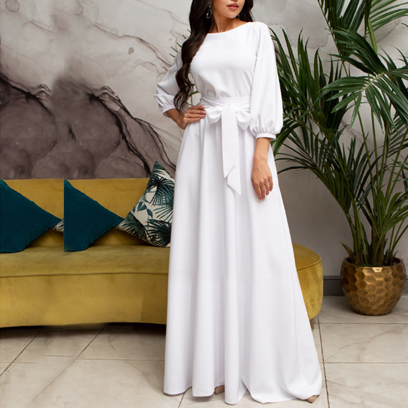 Bandage Dress Lantern-Sleeve Bow-Tie Maxi Boho Floor-Length Elegant Vintage Long White title=