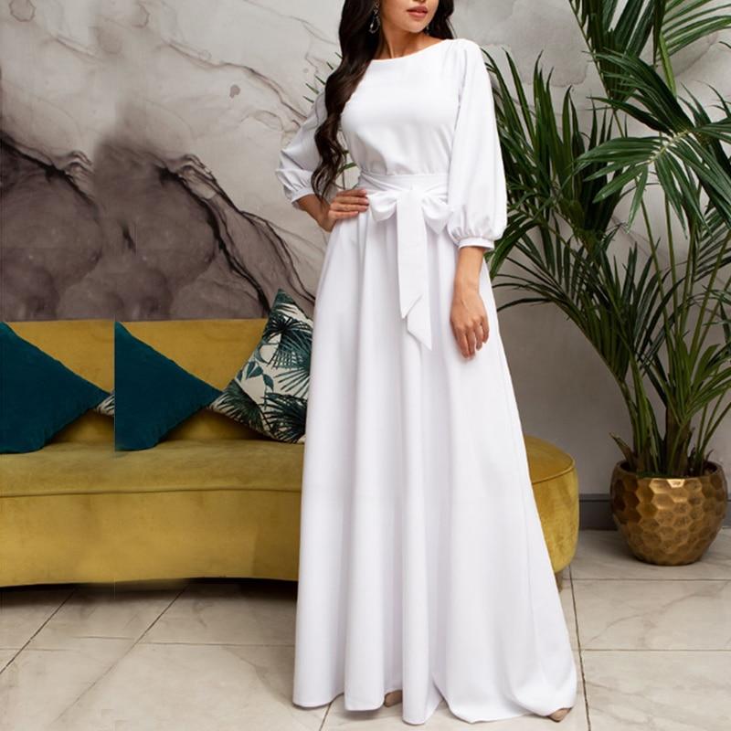 Vintage Bow Tie Maxi Long White Dress Women Lantern Sleeve Elegant Bandage Dress 2019 Solid O Neck Boho Floor-Length Dress