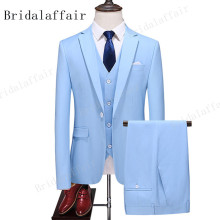 Blazer-Sets Sky-Blue-Suit Wedding KUSON 3pieces Tuxedo Groom Slim-Fit Lapel Graduation-Party