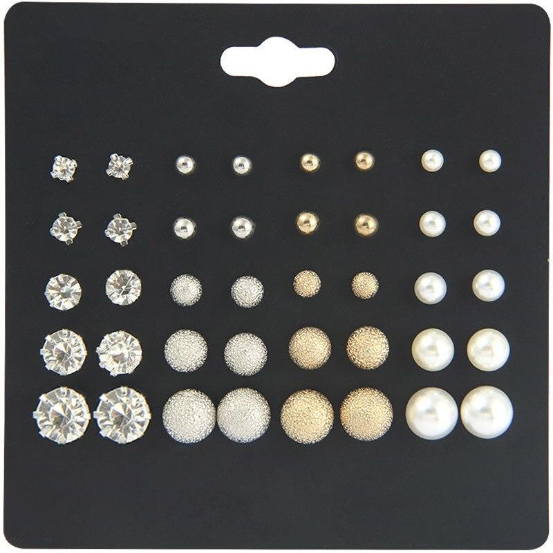 Stud Earrings For Women Fine Jewelry 2020 Women Pearl Earrings Set Korean Clip On Stud Earrings