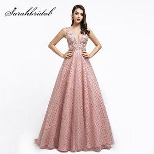 Image 1 - New Dubai Ball Gown Celebrity Dress Long 2021 Arabic Women V neck Sleeveless Evening Party Red Carpet Gown Robe De Soiree L5508