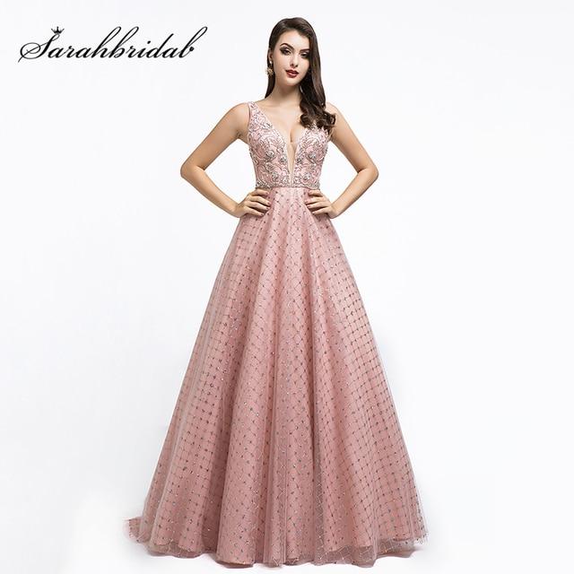 New Dubai Ball Gown Celebrity Dress Long 2021 Arabic Women V neck Sleeveless Evening Party Red Carpet Gown Robe De Soiree L5508