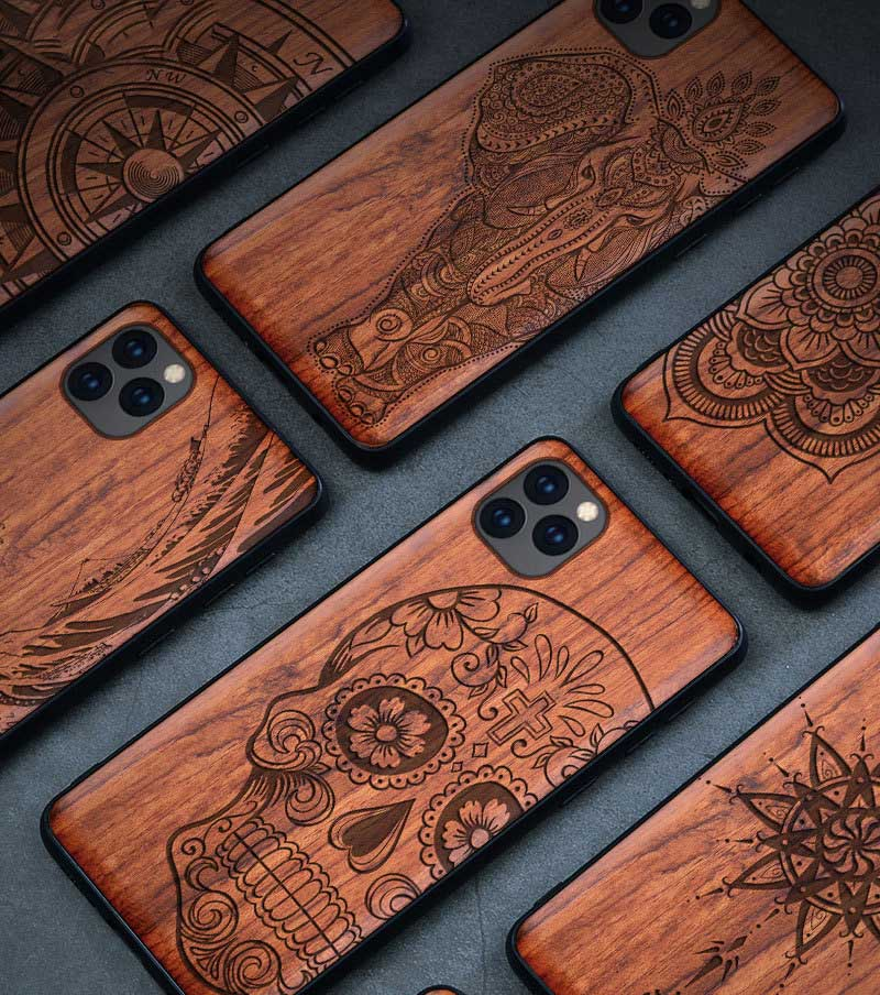 All-inclusive Emboss Solid Wood Carving Protective Cover Case For iPhone 12 Pro Max