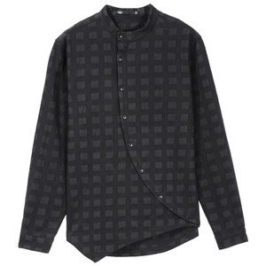 Image 4 - Free shipping Soul spring new mens dark black irregular cotton long sleeved shirt BC193113390