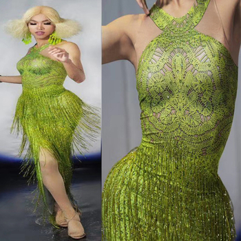 New Groene Franjes Lange Jurk Rhinestone Kwastje Dans Outfit Dragen Zanger Nachtclub Tonen Avond Verjaardag Vieren Jurken