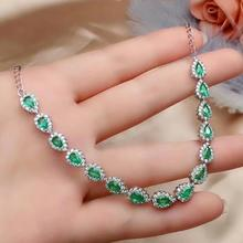 SHILOVEM 925 sterling silver Natural Emerald classic fine Jewelry  women wedding party wholesale gift new 3*5mm cl0305992agml