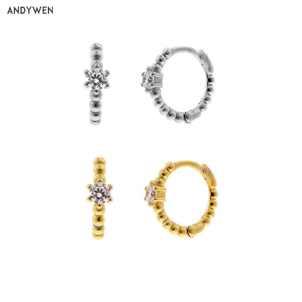 ANDYWEN 925 argent Sterling 8mm perles Huggies moyen cerceau cristal femmes fête Piercing Pendiente Clips mariage Rock Punk bijoux