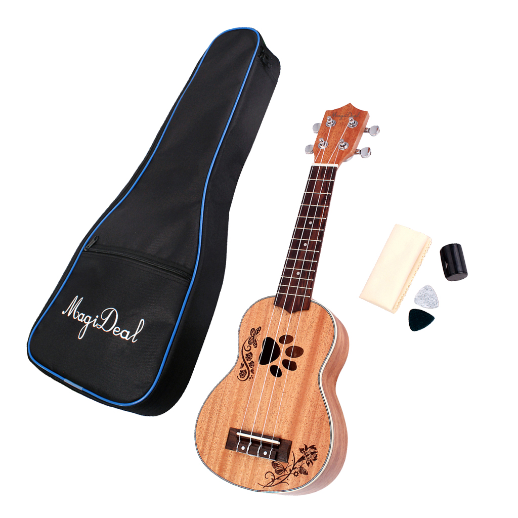 21 'acajou Soprano ukulélé Uke guitare hawaïenne avec sac de concert pour les apprenants Uke débutants