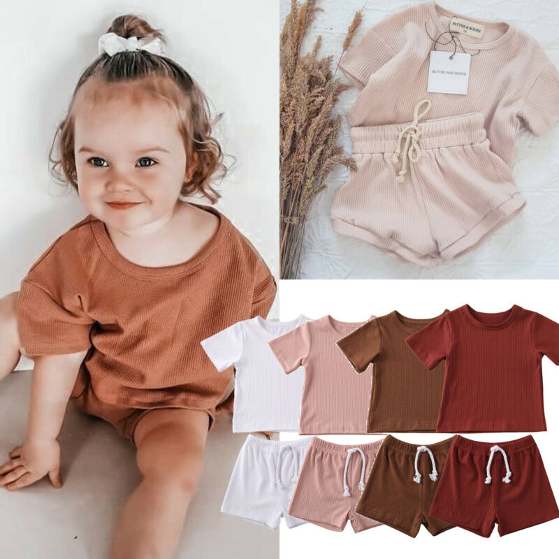 2Pcs Fashion 2020 Summer Newborn Toddler Baby Girls Boys Outfits Clothes Cotton Casual Short Sleeve Knitted T-shirt+Shorts Pants