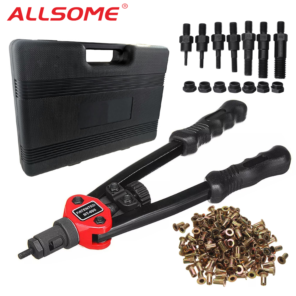 ALLSOME BT-605 Auto Blind Riveter Guns Kits Manual Mandrels M3 M4 M5 M6 M8 M10 M12   300pcs Rivet Nuts With Box