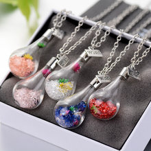 Wishing Bottle Glass with Key Necklace Inside Dry Flower Lucky Crystal Stone Chain Pendant Necklace For Women Jewelry Girl(China)