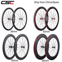 700C Carbon Wheels Super Light 38mm 50mm 60mm 88mm Tubular Clincher Tubeless Road Bike Wheelset R13 Ceramic Hub Basalt Brake