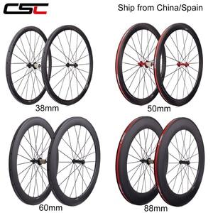 Carbon Wheels Super Light 38mm 50mm 60mm 88mm Tubular Clincher 700C Chinese Road Bike Carbon Wheelset R13 Ceramic Bearings Hub(China)