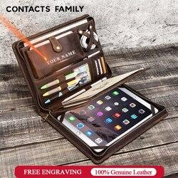 Estuche padfolio de cuero Vintage para iPad Pro 11 10,5 Air 3 10,2 Protector de tableta para iPad 9,7 Air 2 con cremallera soporte para diario