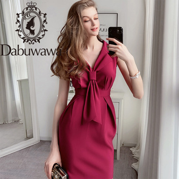 Dabuwawa Vintage Party Burgundy Sheath Dress Women V-Neck Tie Front High Waist Sleeveless Elegant Dress Office Lady DT1BDR009 button front sleeveless dress