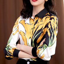 Korean Women Silk Shirt Elegant Woman Satin Blouse