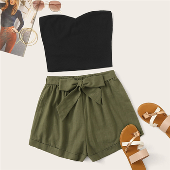 Plus Size Solid Tube Crop Top and Belted Shorts Set
