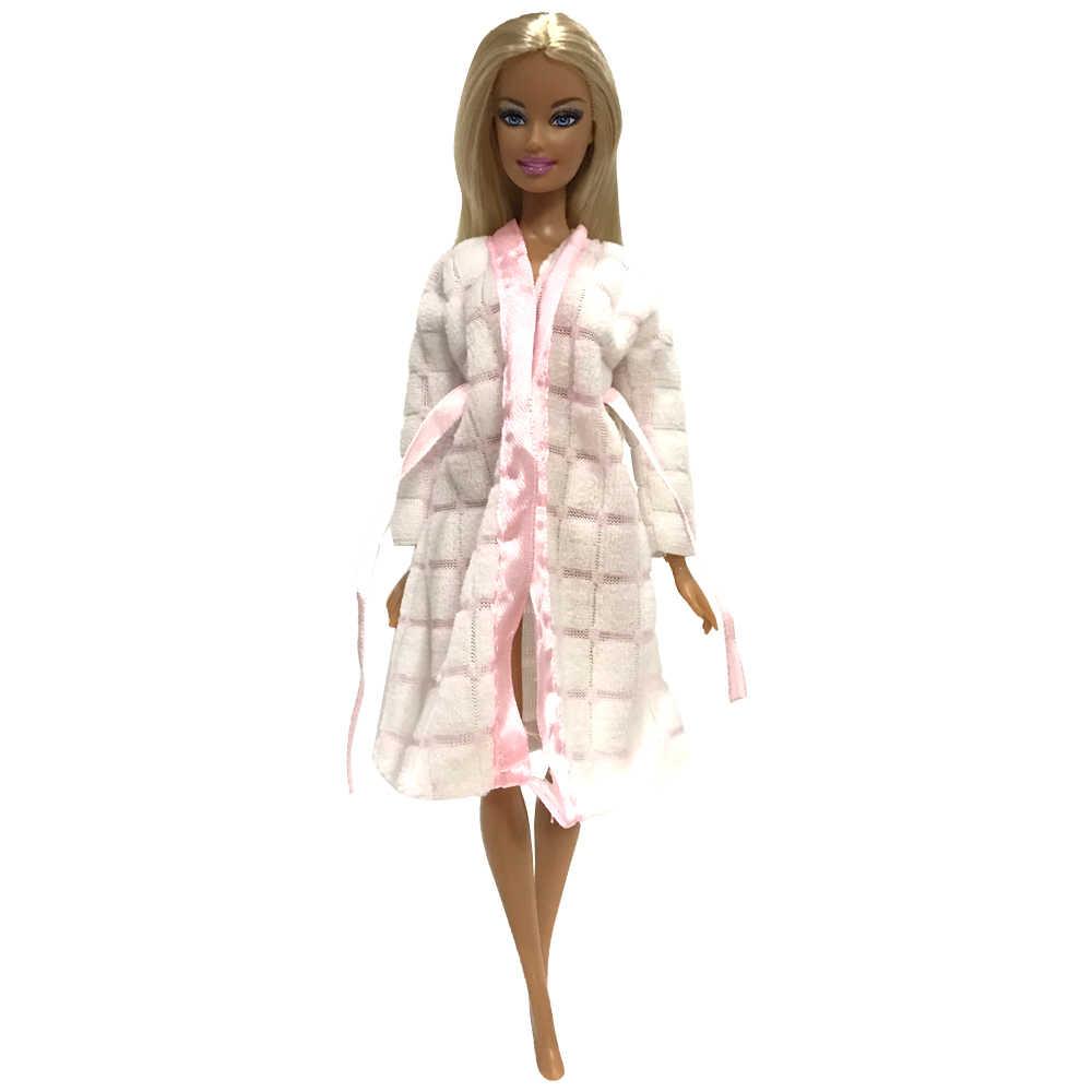 NK אחד Pcs בובת חלוק רחצה חליפות חורף פיג 'מה ללבוש שינה תלבושת עבור ברבי בובת אביזרי בנות' מועדף מתנה DZ
