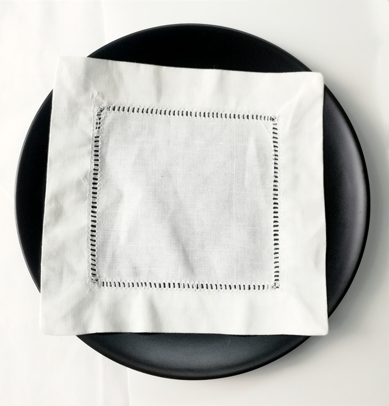 Set Of 500 Fashion White Hemstitched Linen Cocktail Napkins 6x6-inch Coasters Cup Mat Dress Up Any Cocktail Party