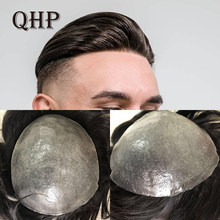 Men Toupee Soft Thin Skin Pu Hair System 0.06mm Thickness Men's Wig Handmade Human Hair Capillary Prosthesis Natural Wig For Men