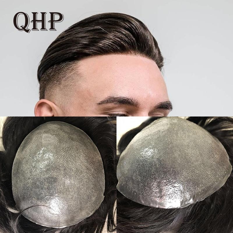 QHP pelo fino suave de la piel PU hombres peluquín puro peluca artesanal de 8x10 pulgadas Remy humano indio sistemas de repuesto de cabello hombres peluca