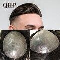 QHP мягкая тонкая кожа PU Для мужчин накладки из искусственных волос ручной работы парик 8x10 дюймов, Remy (Реми), индийские человеческие системы з...