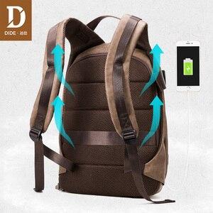 Image 4 - DIDE 2020 זכר תרמיל USB תשלום עמיד למים 15.6 אינץ מחשב נייד תרמיל עור נסיעות מזדמן בציר בית ספר תיק לגברים שחור