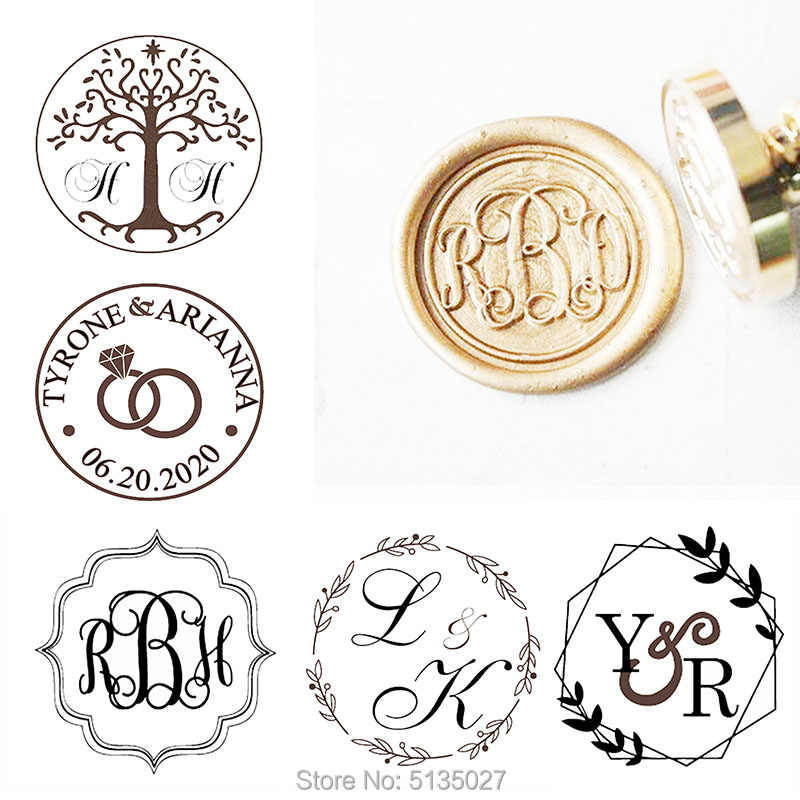 Custom Initials Wax Seal Stamp Monogram Sealing Wax Stamp Kit Name Wax Stamp Custom Initial Date Wedding Invitation Wax Seal Kit Custom Seal