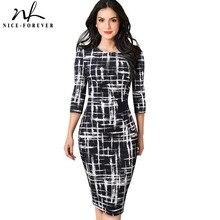 Женское винтажное деловое платье Nice-forever, элегантное пестрое облегающее платье для офиса и вечеринок, модель B543