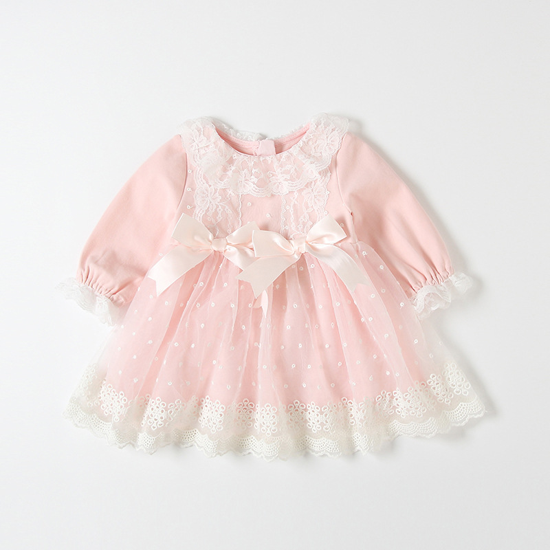 Baby Baptism Dress 2019 Bow Embroidery Lace Newborn Baby Girls Infant Dresses & Clothes Baby Dress Birthday Girls Dress 0-3Y
