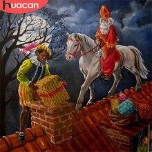 Huacan Volledige Vierkante Diamanten Borduurwerk Kerstman Diamant Schilderen Kruissteek Cartoon Mozaïek Kerstcadeau Decortion
